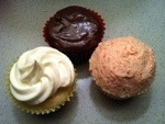 A trio of cupcakes! Lemon, chocolate and strawberry