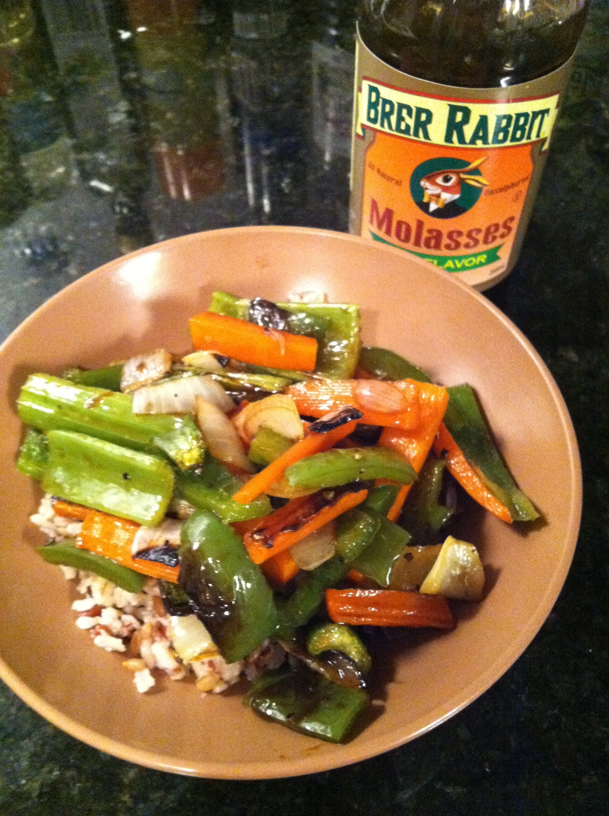 Roasted Vegetables with Brown Rice and Molasses Sauce