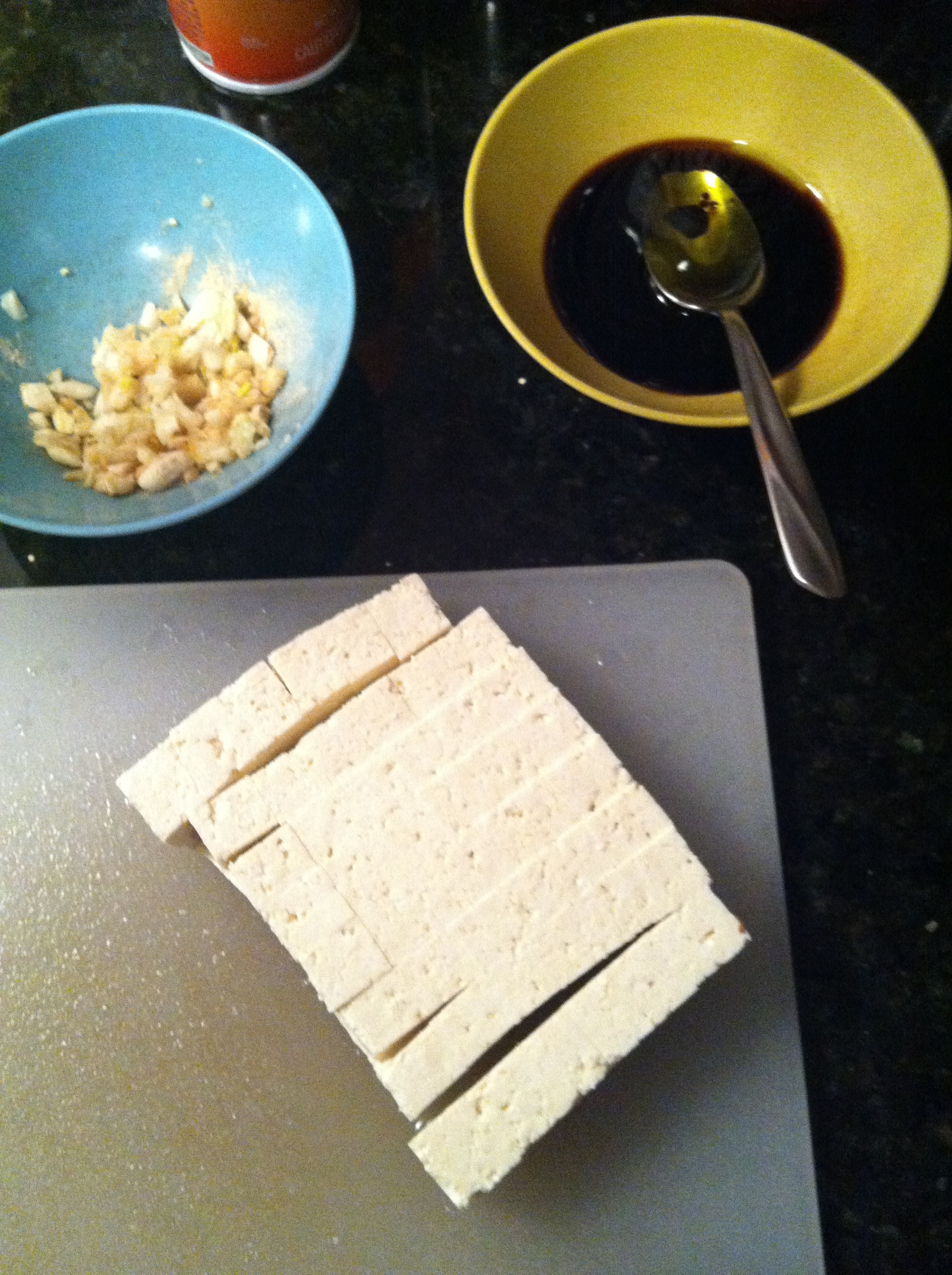 Prepping ingredients and tofu