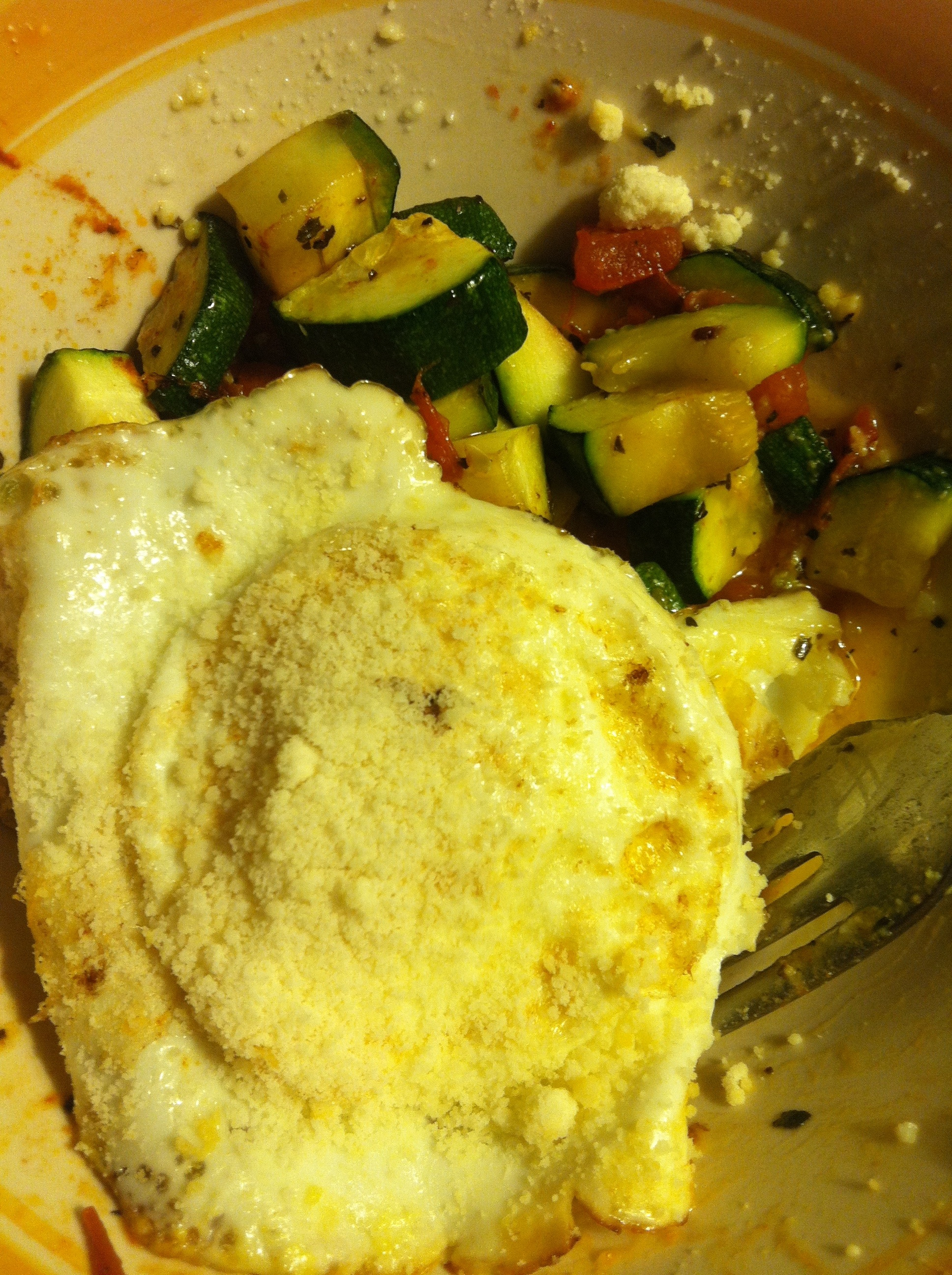 Roasted Zucchini with Parmesan Fried Eggs