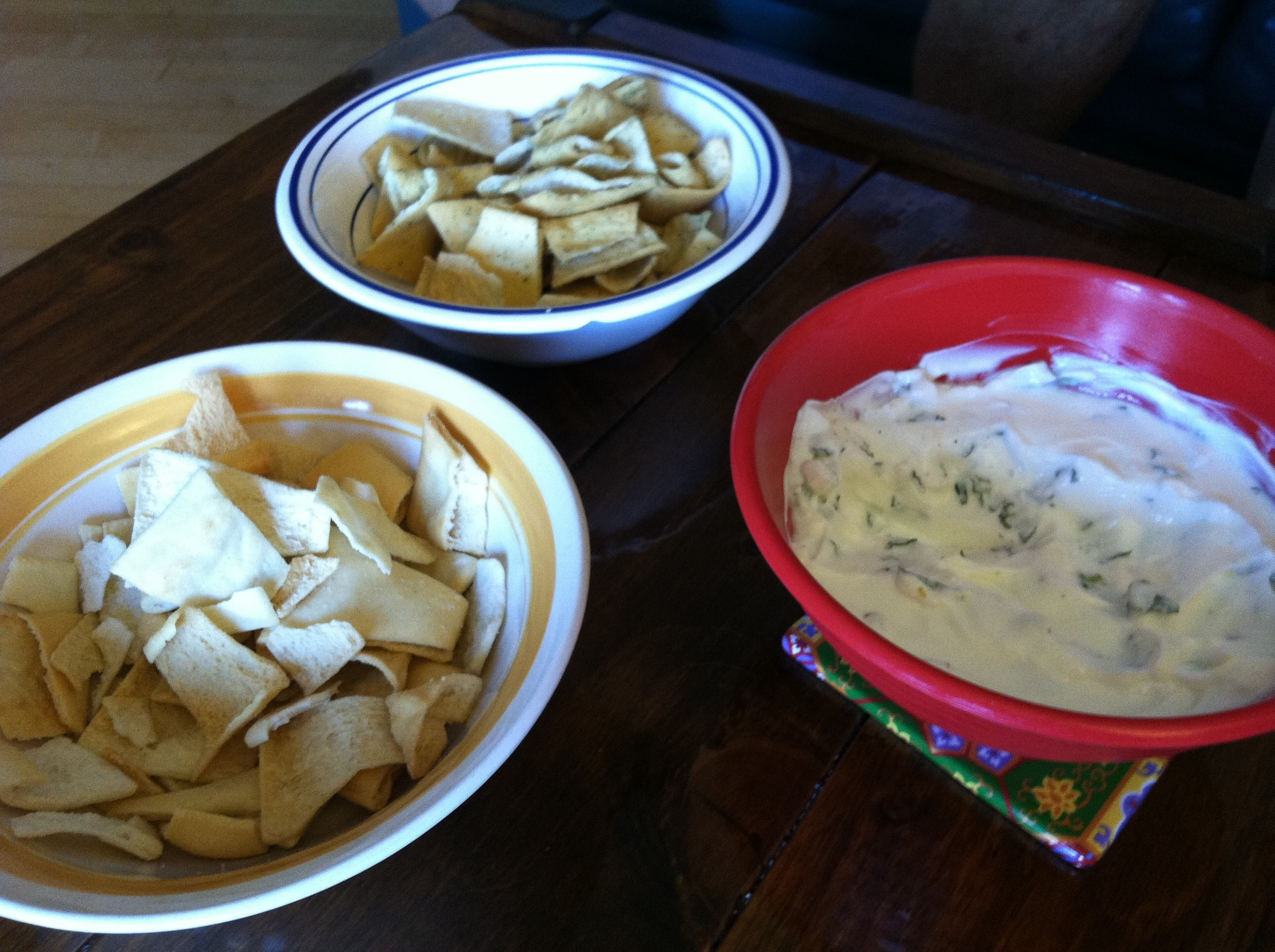Pita chips with Greek yogurt dip