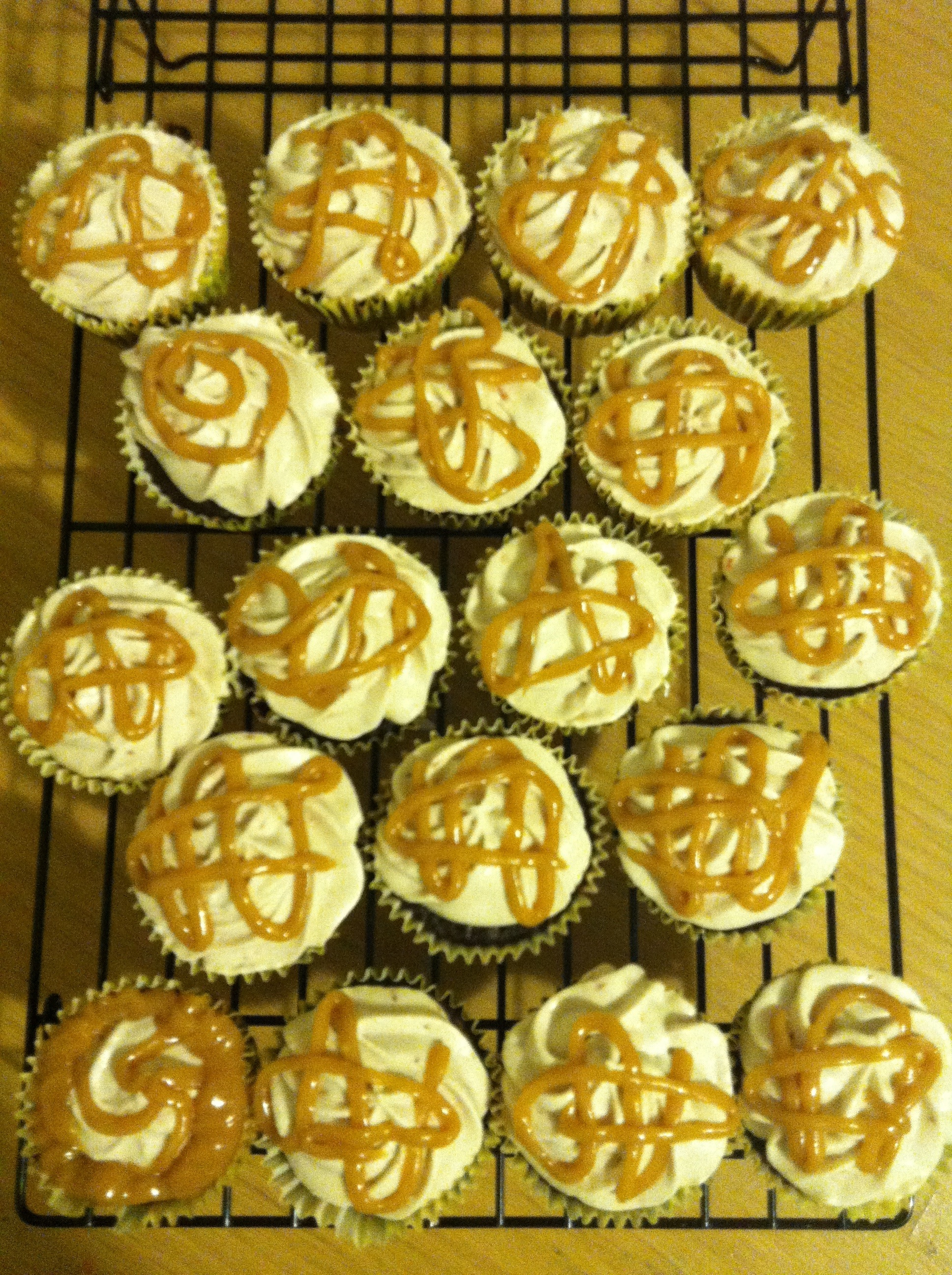 Chocolate Cupcakes with Strawberry Jam Buttercream and Peanut Butter Drizzle