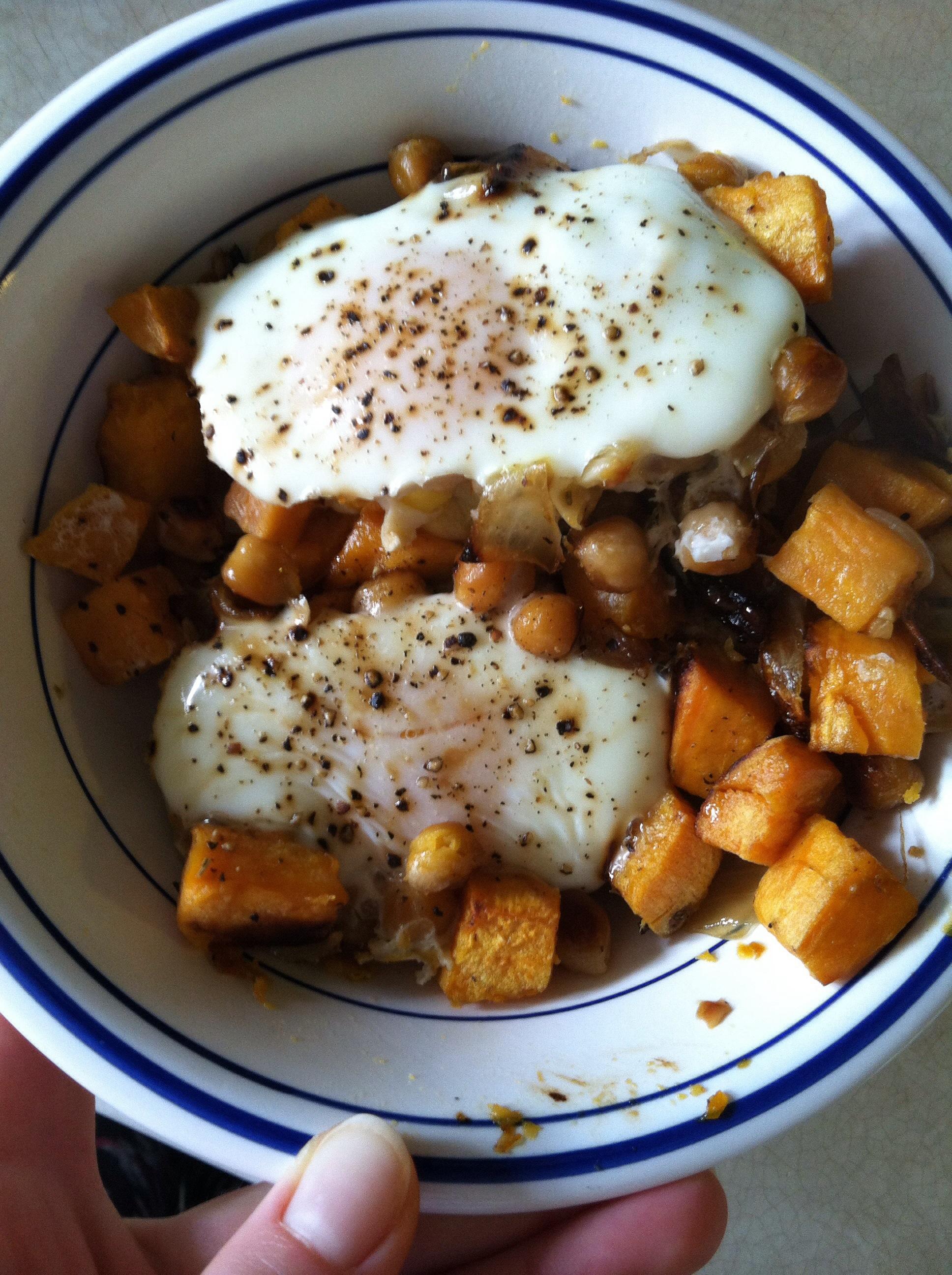 Sweet Potato Onion Chickpea Hash
