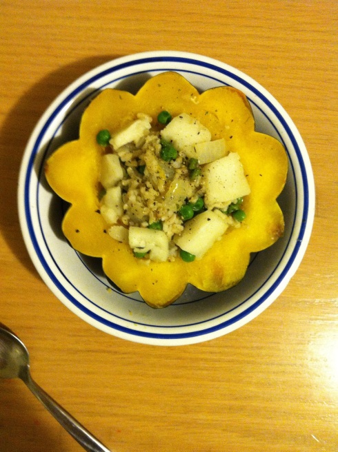 Acorn Squash Stuffed with Rice, Peas, Cheese