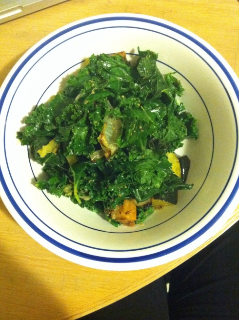 Warm Kale, Sweet Potato and Squash Salad
