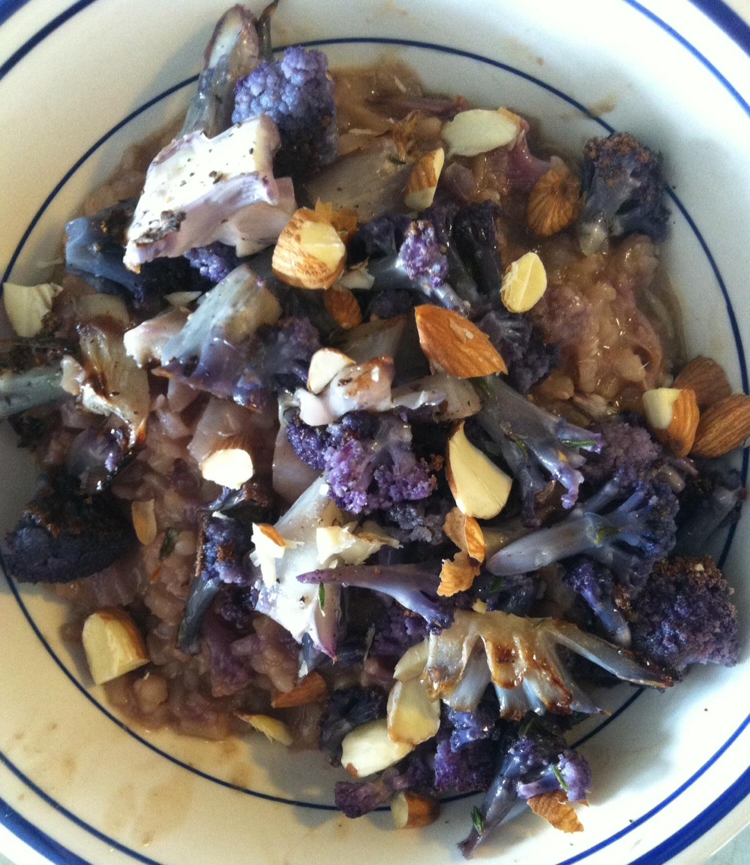 Roasted Purple Cauliflower Thyme Risotto | xtinaluvspink.wordpress.com