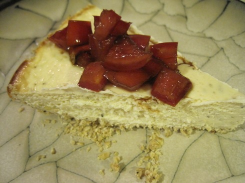 Savory Oat-Crusted Cheesecake with Marinated Tomatoes | xtinaluvspink.wordpress.com