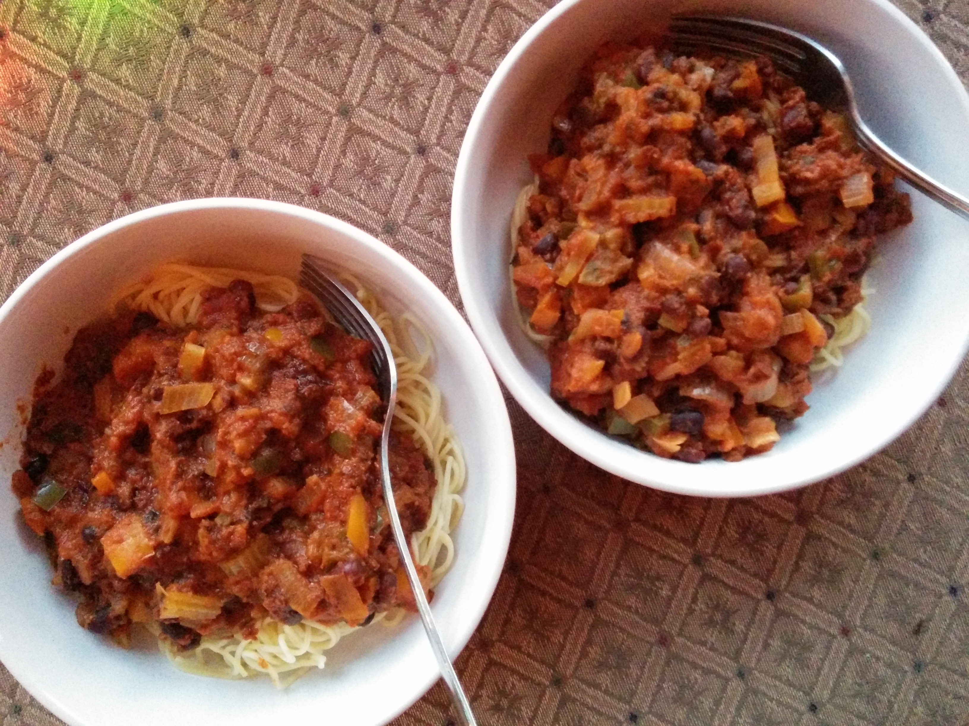 Soy Chorizo and Garden Veggie Bolognese | Eat, Drink, Be Healthy!