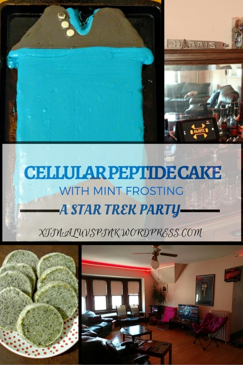 Cellular Peptide Cake with Mint Frosting (aka dessert for a Star Trek Party!) | xtinaluvspink.wordpress.com