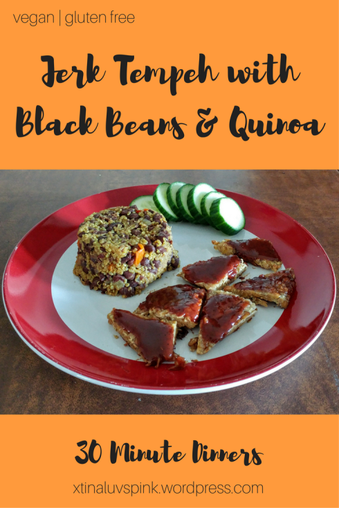 Jerk Tempeh with Black Beans and Quinoa | xtinaluvspink.wordpress.com