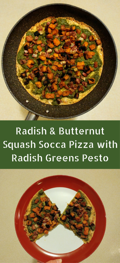 Radish and Butternut Squash Socca Pizza with Radish Greens Pesto | xtinaluvspink.wordpress.com